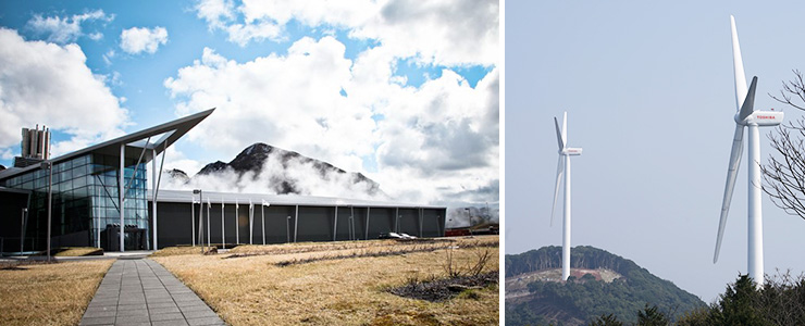 Geothermal power plant and Wind power turbines